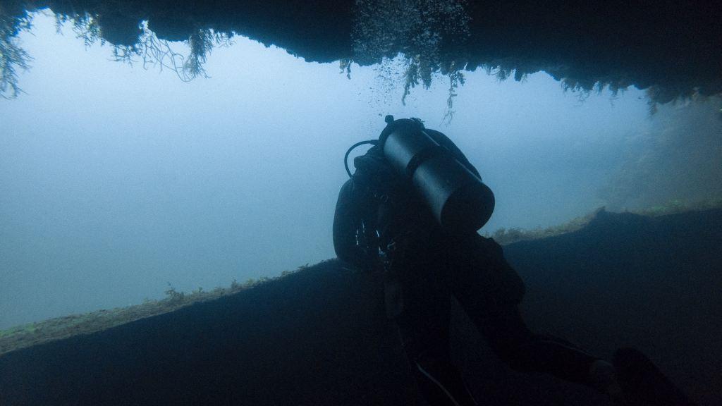 Night scuba diver